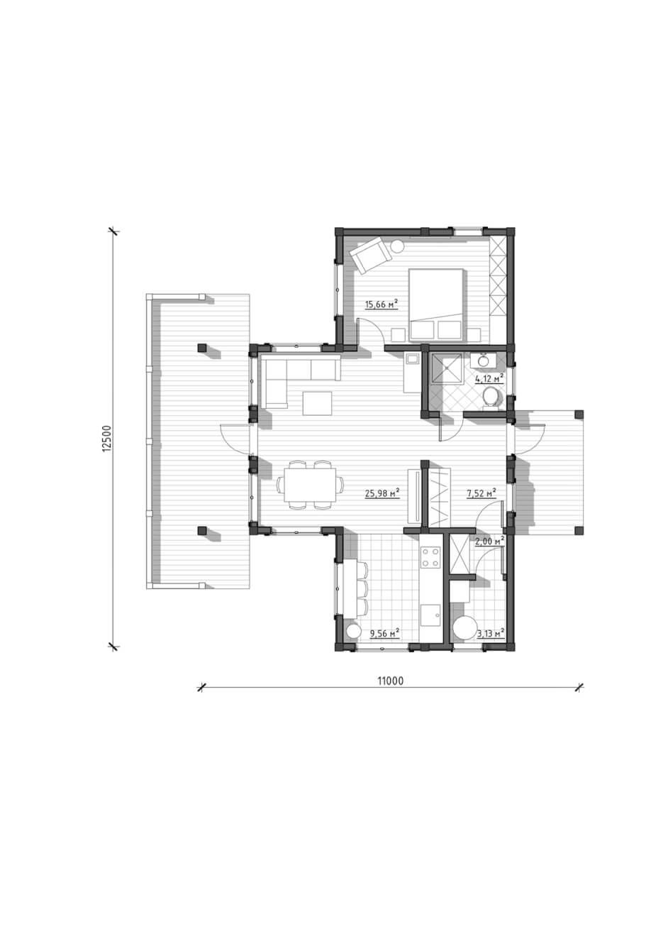 Планировка проекта скандинавского одноэтажного дома от ETS