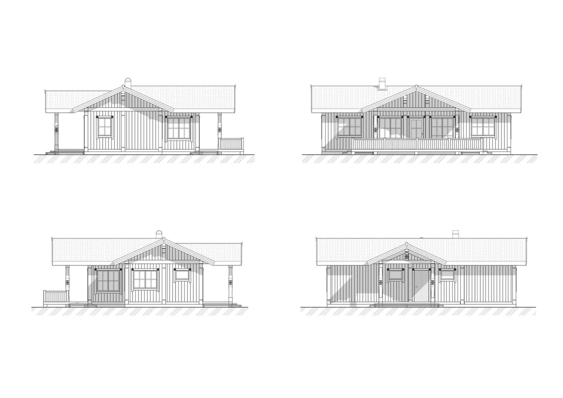 Фасады проекта скандинавского одноэтажного дома от ETS