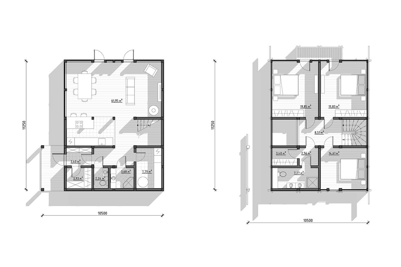 Планировка проекта фахверкового дома Хаппо-Ое от ETS
