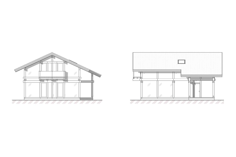 Фасады проекта фахверкового дома Хаппо-Ое от ETS