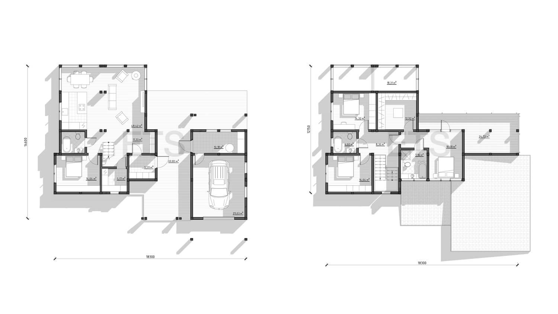 Планировка проекта фахверкового дома на Сахалине от ETS