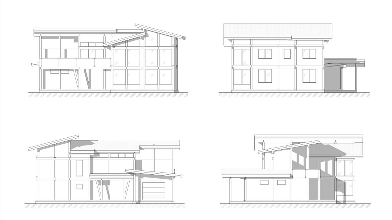Фасады проекта фахверкового дома на Сахалине от ETS