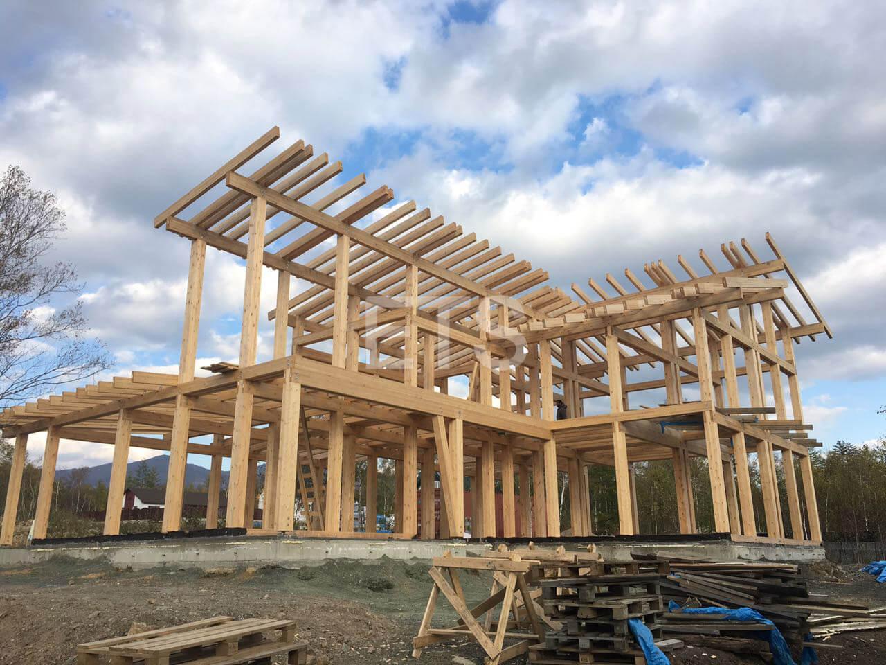 Строительство проекта фахверкового дома на Сахалине от ETS