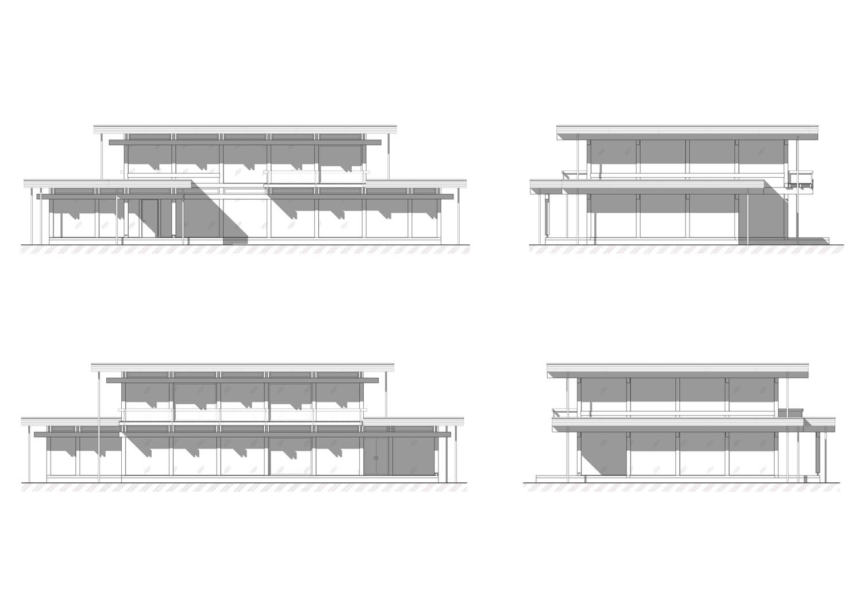 Фасады проекта в стиле фахверк - фахверковый Фитнес клуб, выполненного ETS