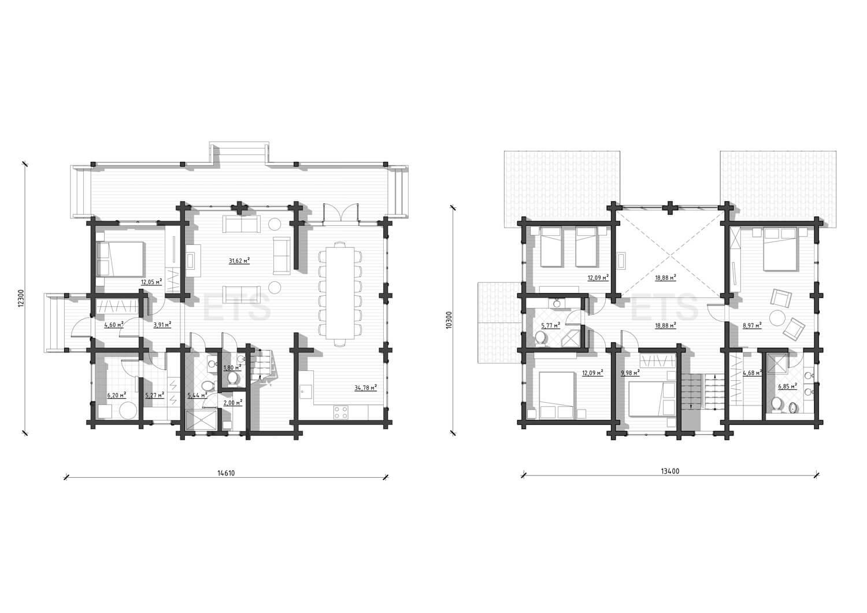 Планировка проекта дома из клееного бруса, спроектированного и построенного ETS
