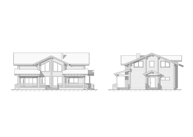 Фасады проекта дома из клееного бруса, спроектированного и построенного ETS