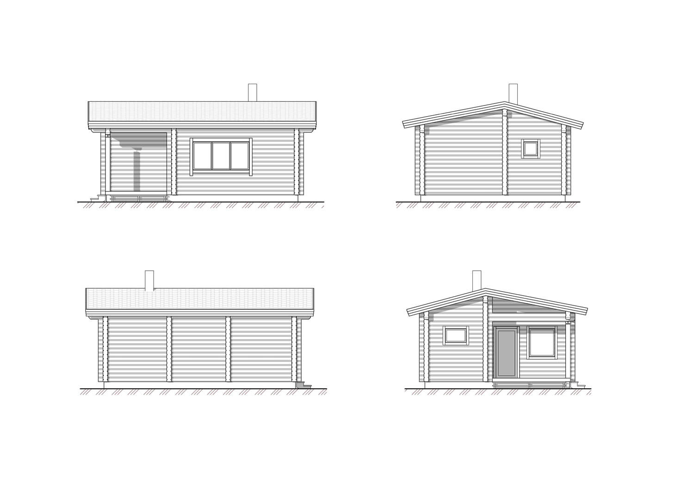 Фасады бани из клееного бруса, спроектированной и построенной ETS