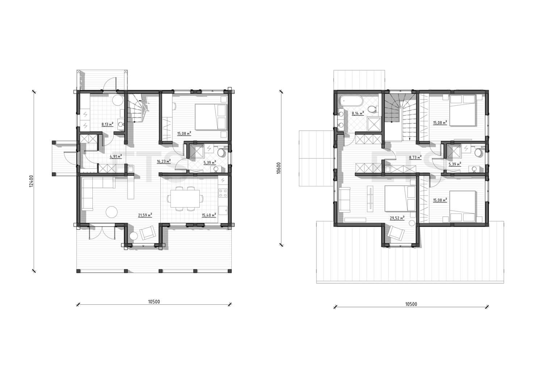 Планировка скандинавского двухэтажного дома